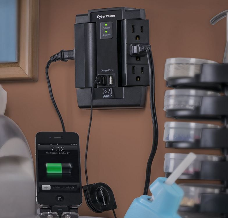 Swivel Outlets for 6 Plugs, with 2 USB Ports and Surge Protector