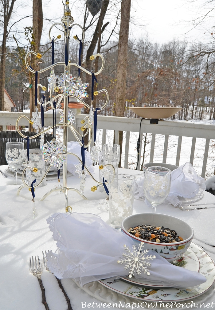 Winter Table Setting with Snowy Birding Theme