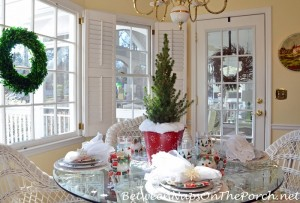 Winter Table with Snowy Tree Centerpiece