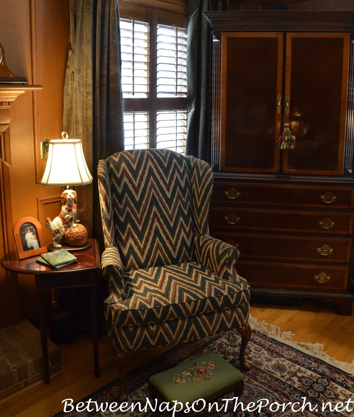 Velvet Drapes For A Paneled English Country Style Living Room