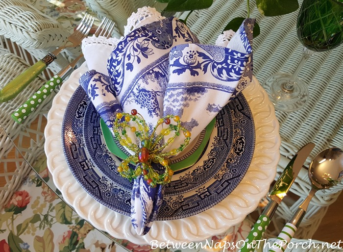 Blue & White Table, Blue Willow, Green Polka Dot & Striped Flatware