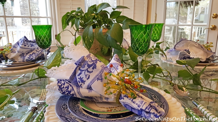 Blue Willow in Green & Blue Table Setting