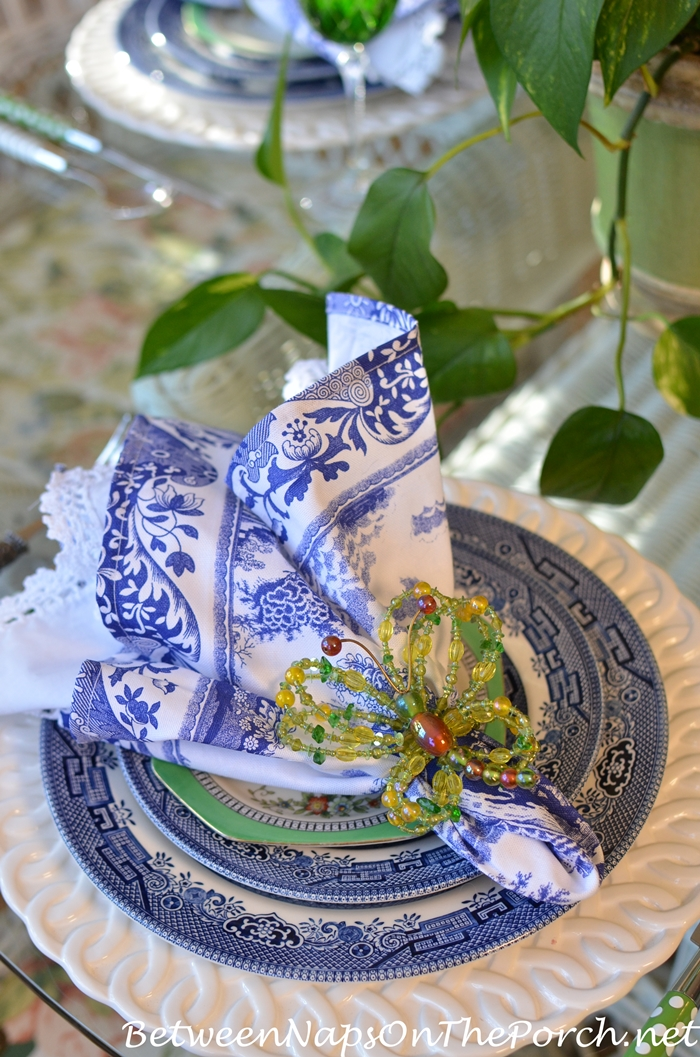 Blue and White Tablescape, Beaded Butterfly Napkin Rings