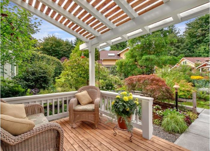 Cottage Porch with Overhead Pergola