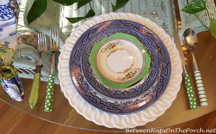 Noritake Roseara in Blue and White Table Setting