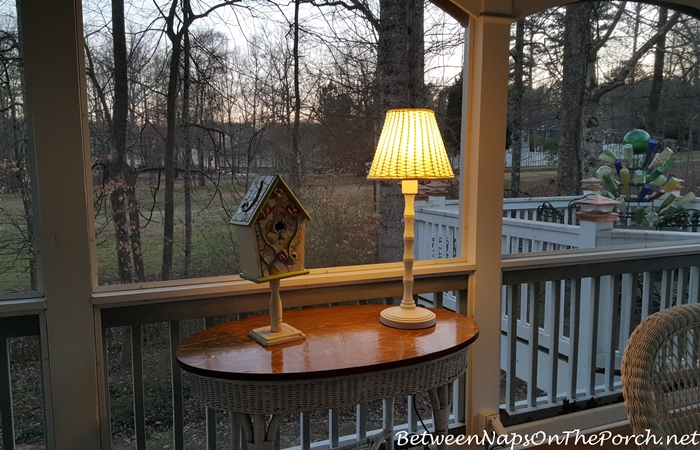 Outdoor Wicker & Bamboo Style Lamp at Dusk