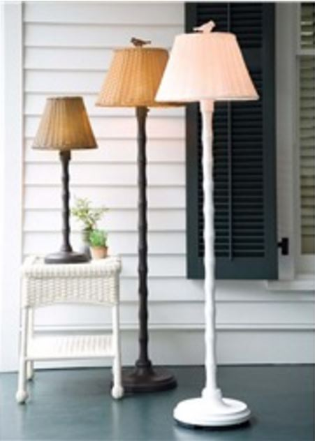 Outdoor Wicker Style Floor Lamp, Great for Porches