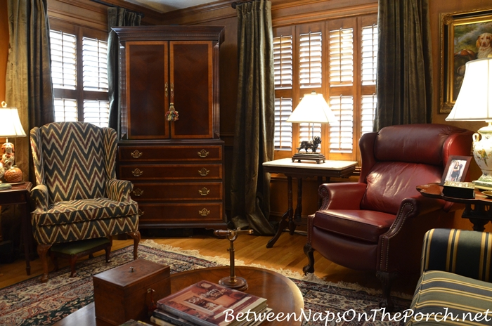 Paneled Room with Green Velvet Drapes, English Country Style