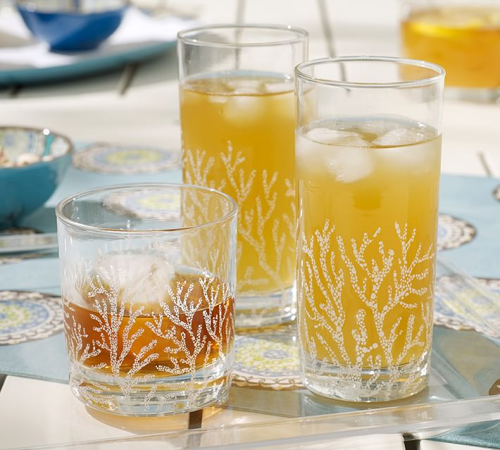 Pottery Barn Coral Glassware on Sale