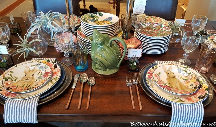 Pottery Barn Floral Bunny Dishware with Frog Pitcher