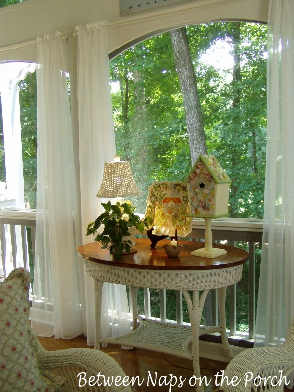 Screened Porch With Sheer Curtains