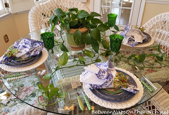 Spring Blue and Green Table with Blue Willow