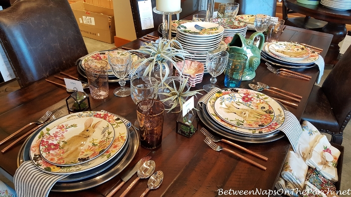 Spring Table with Pottery Barn Floral Bunny Dishware