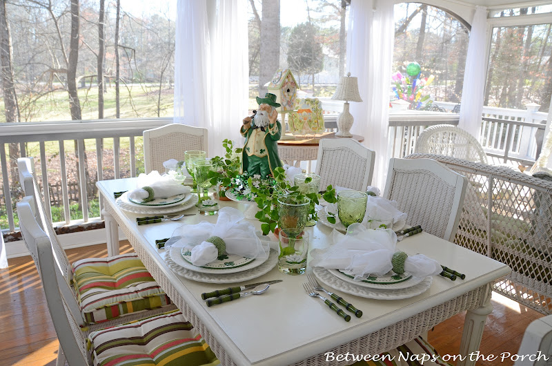St. Patrick's Day Table with Shamrock Salad Plates and Leprechaun Centerpiece