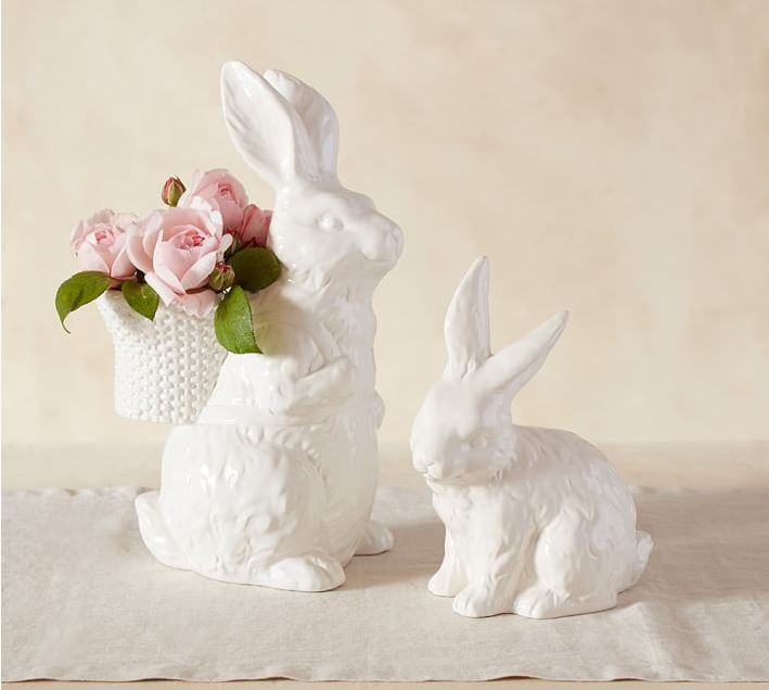 Tall Ceramic Bunny With Basket For Spring Or Easter