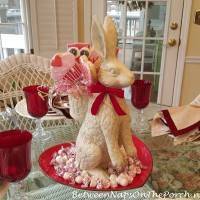 Valentine's Day Table Setting with Bunny Centerpiece