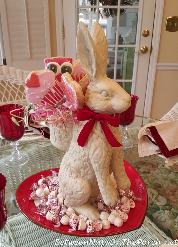 Valentine's Day Table with Bunny & Cookie Centerpiece
