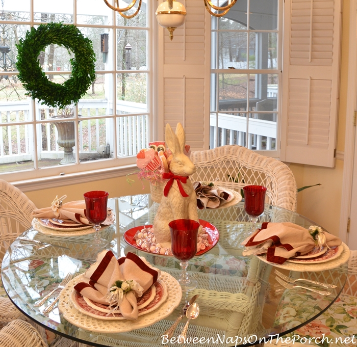Valentine's Day Table with Spode Tower & Bunny Centerpiece