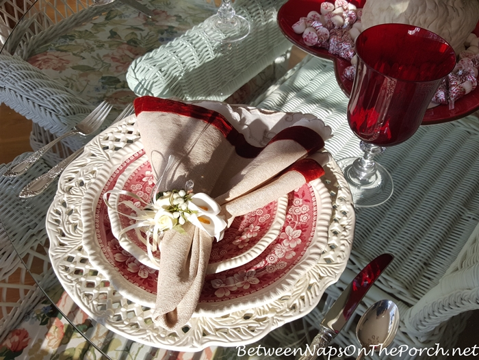 Valentine's Day Tablescape, Copeland Spode Tower in Red and White