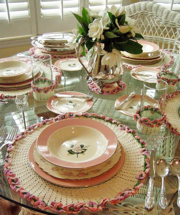 Vintage Crocheted Luncheon Set in Pink, Green and White