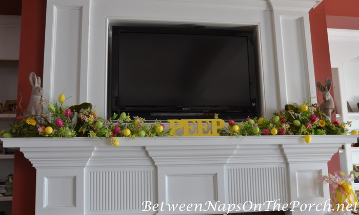 Easter Mantel with Egg Garland