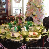 A Springtime Table with Cabbage Plates & Floral Egg Centerpiece
