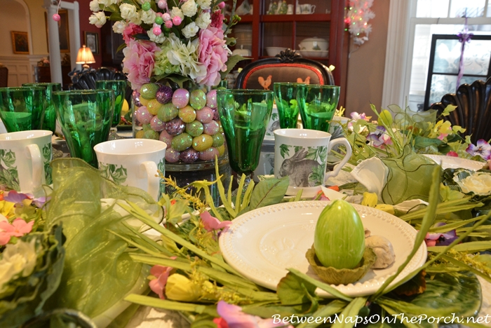 Egg Candles, Green Stemware for Easter Table Setting