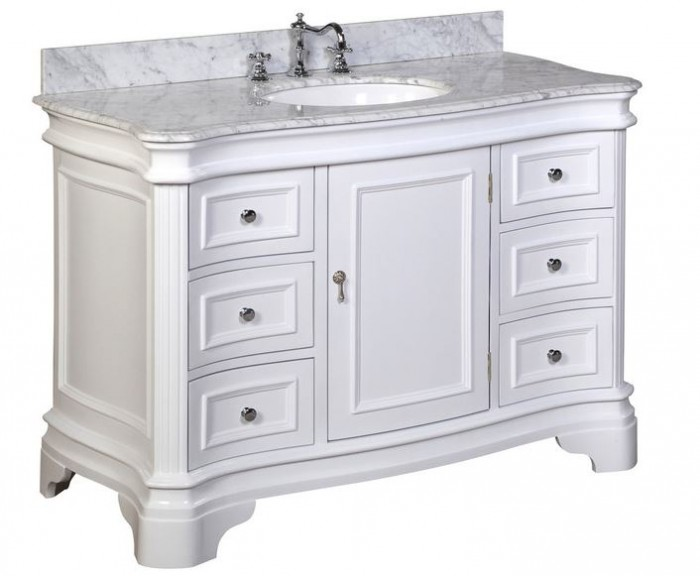 Katherine 48-inch Vanity in White with Cararra Marble