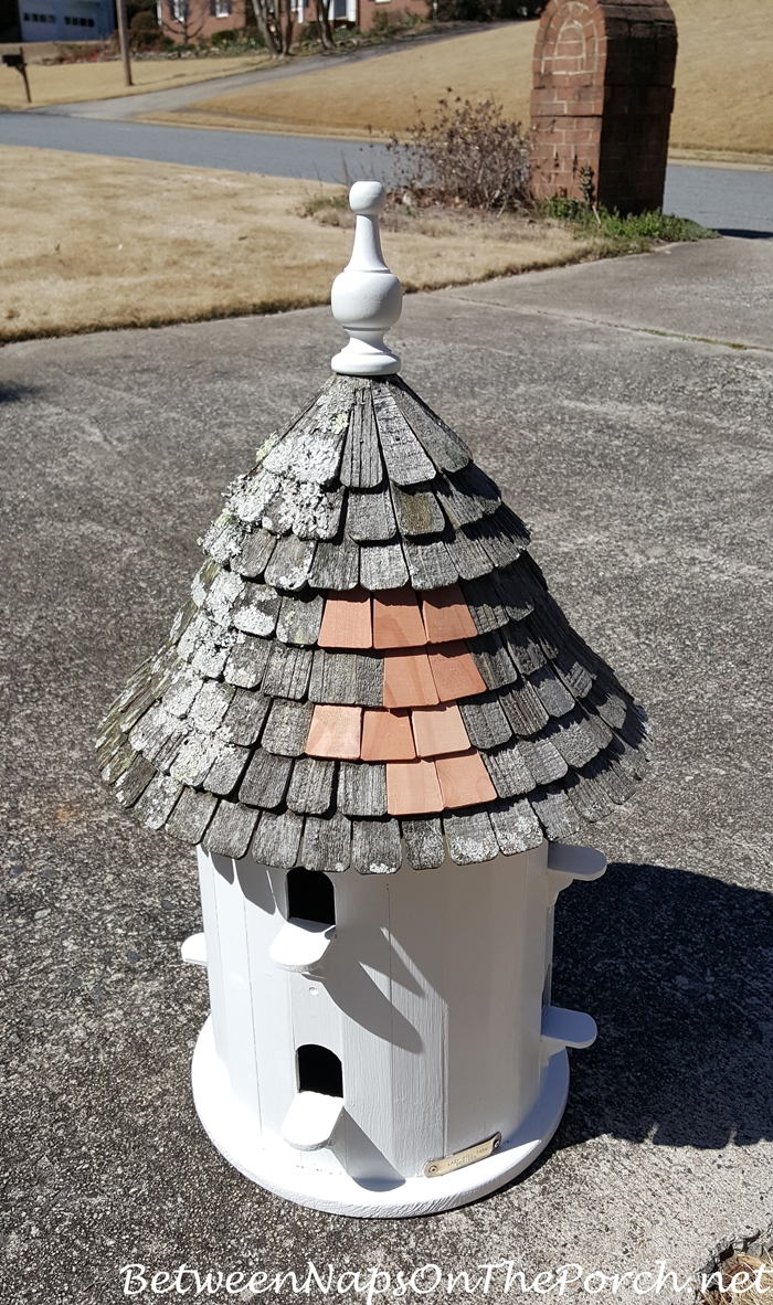 Lazy Hill Dovecote Birdhouse Repaired, Ready To Go In The Garden