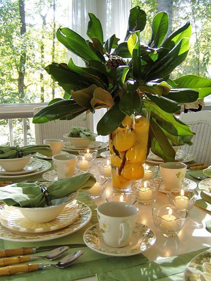 Metlox Poppytrail Sculptured Daisy Table with Magnolia & Lemon Centerpiece