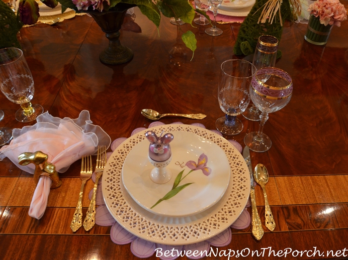 Pierced Chargers for Easter Table Setting