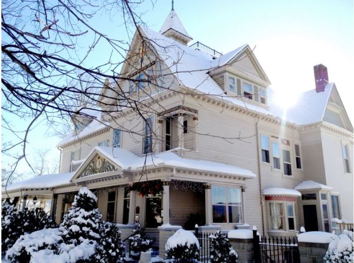 Queen Anne Victorian Home in Snow