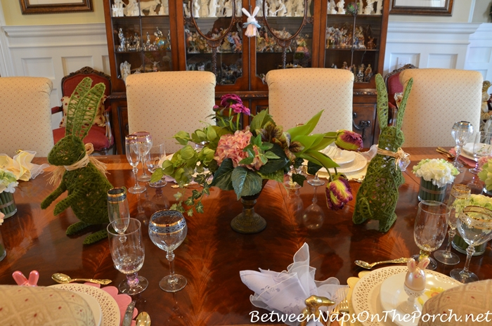 Spring Easter Table with Floral and Bunny Centerpiece