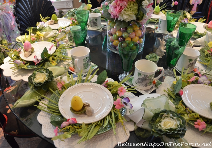 Spring Easter Tablescape with Cabbage Plates