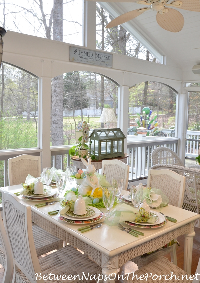 Spring Table Setting on the Porch