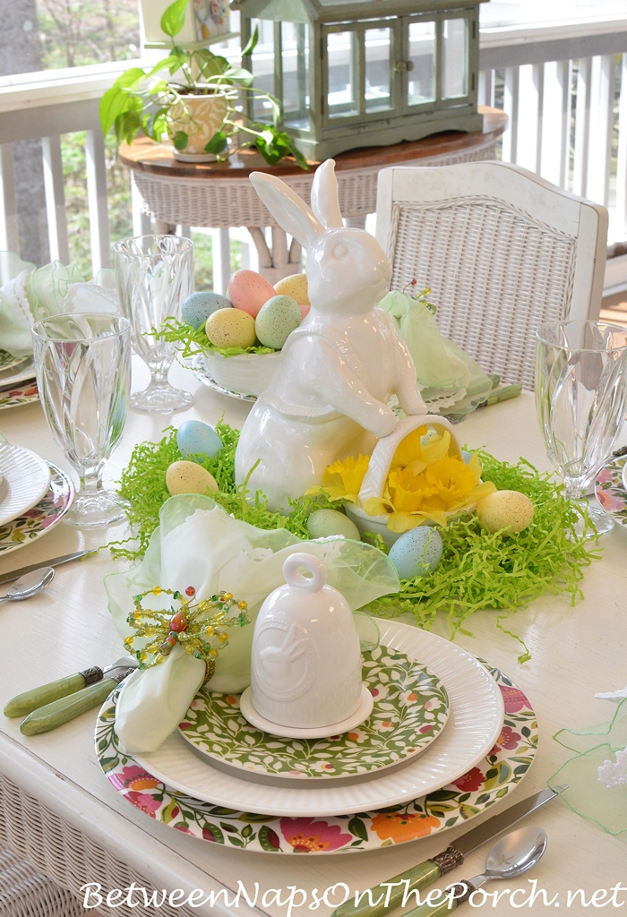 Spring Table With Bunny Centerpiece Two Baskets