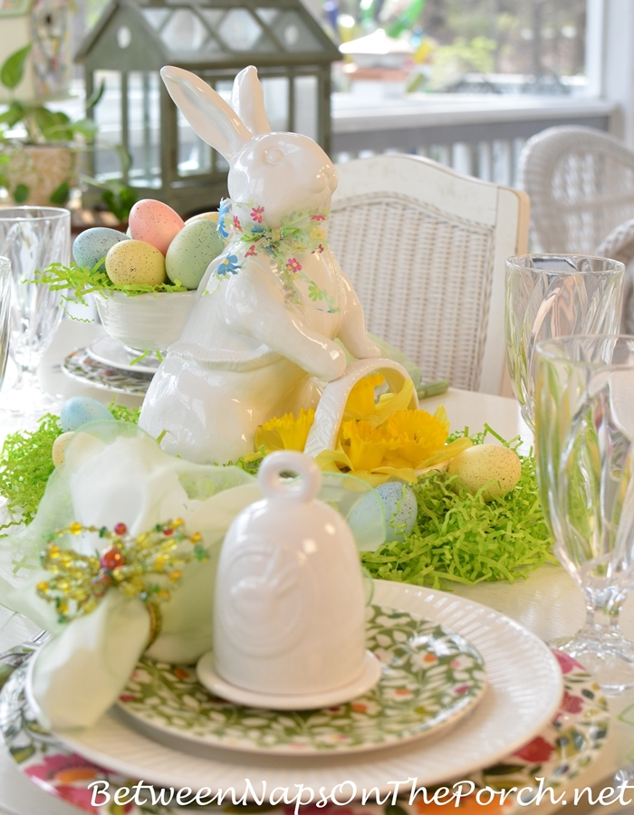 Spring Tablescape with Bunny & Daffodil Centerpiece