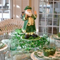 St. Patrick's Day Table with Leprechaun and Garland Centerpiece Decorations