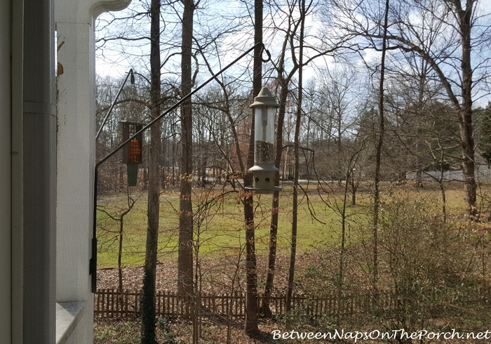 Swing Arm Hanger Holds Bird Feeders off Deck & Pergola