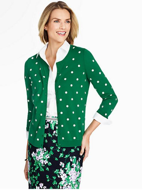 Talbots Green Dotted Cardigan