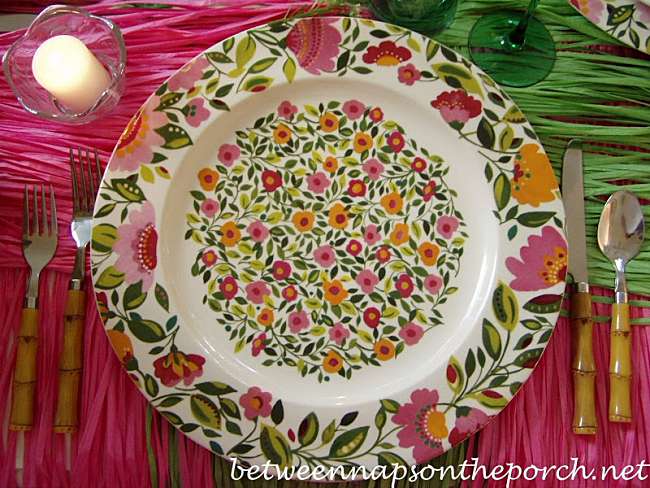 Tropical-Table-Setting with Emma's Garland Chargers by Spode