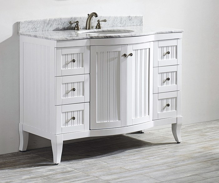 Verona 48-inch Vanity, White with Carrara Marble