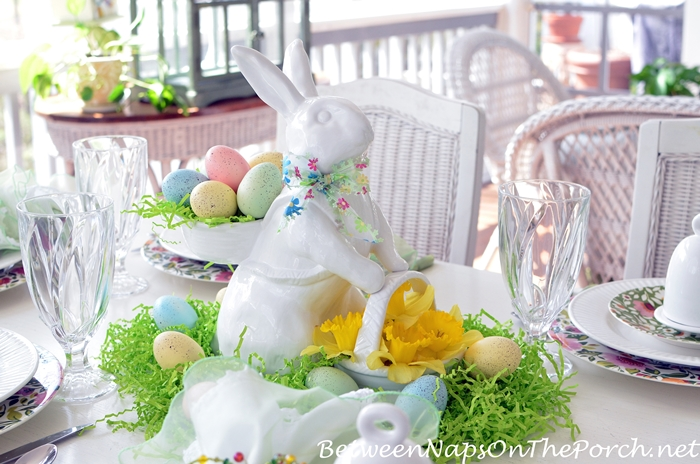 White Bunny with Baskets for Spring Easter Tablescape