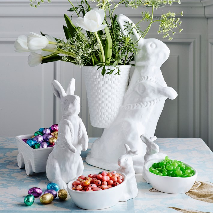 White Bunny with Cart for Spring or Easter