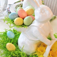 Spring Easter Table Setting With Spode Emma's Garland & Bunny Centerpiece