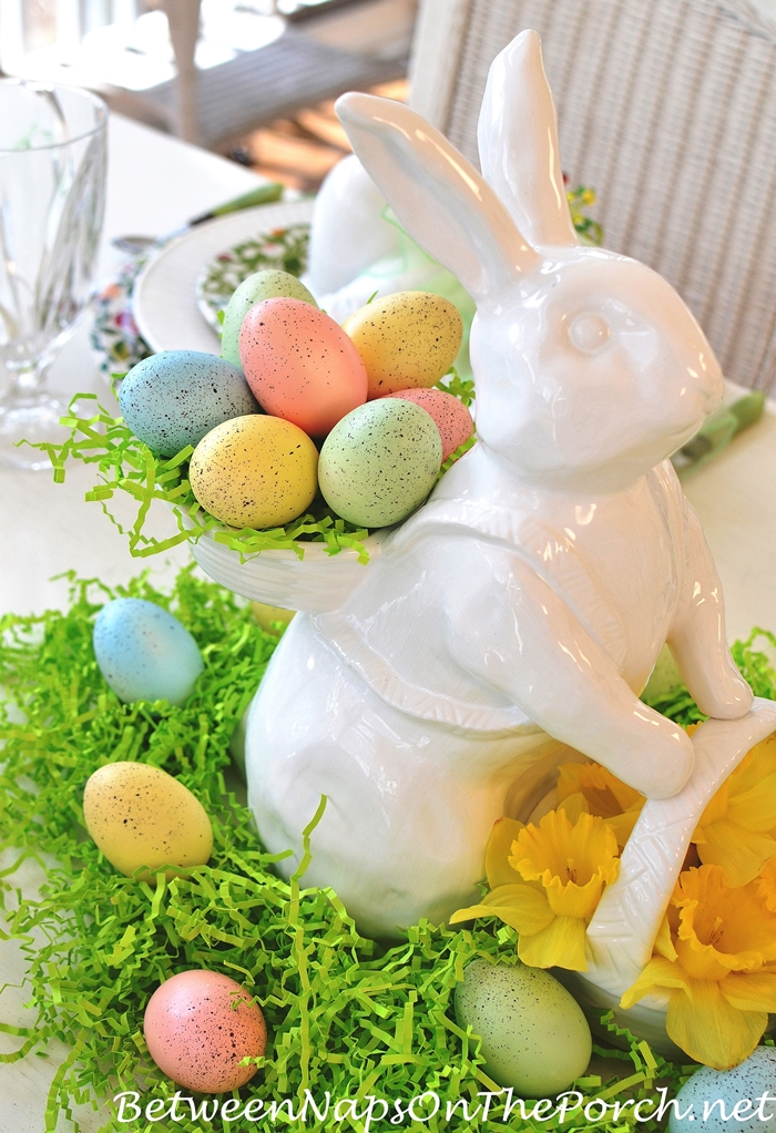 White Ceramic Bunny with Two Baskets