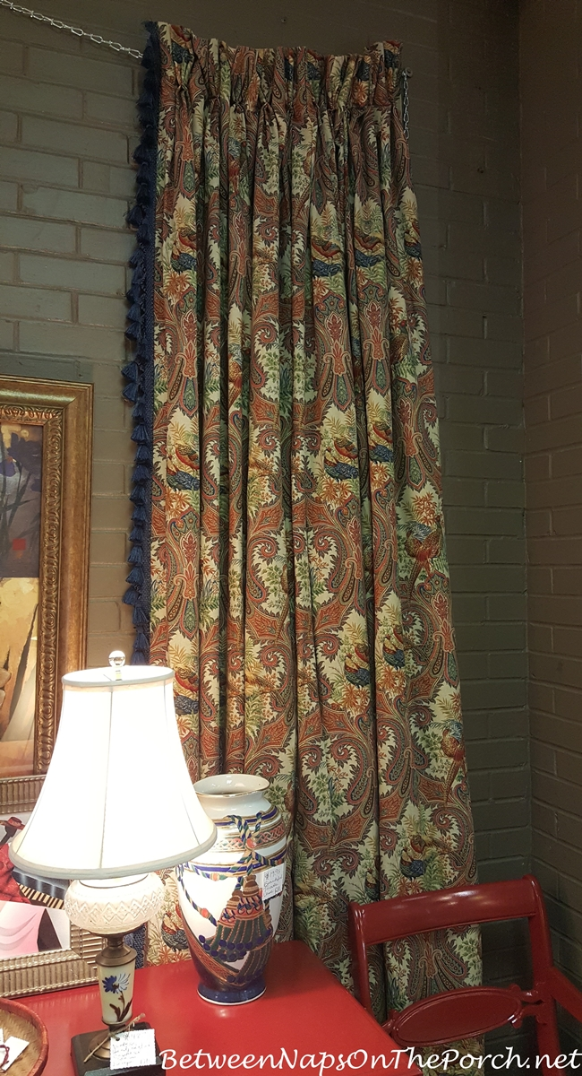 Drapes with Birds and Blue Tassles