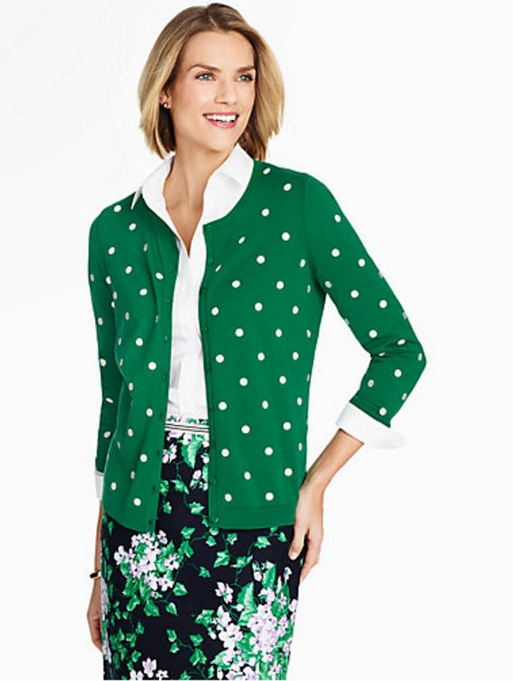 Green Cardigan with Embroidered Polka Dots