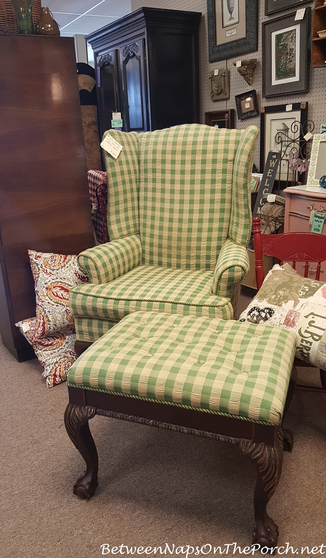 Green & Cream Check Wingback Chair with Ottoman