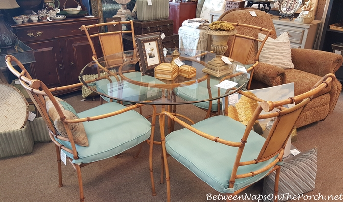Metal Bamboo Style Table & Chairs